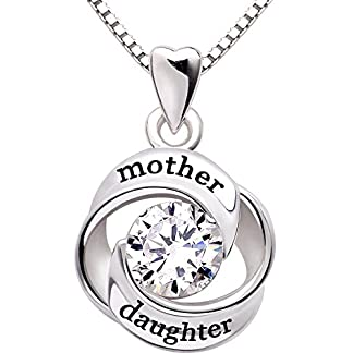 ALOV Jewelry Sterling Silver Mother and Daughter Love Cubic Zirconia Pendant Necklace