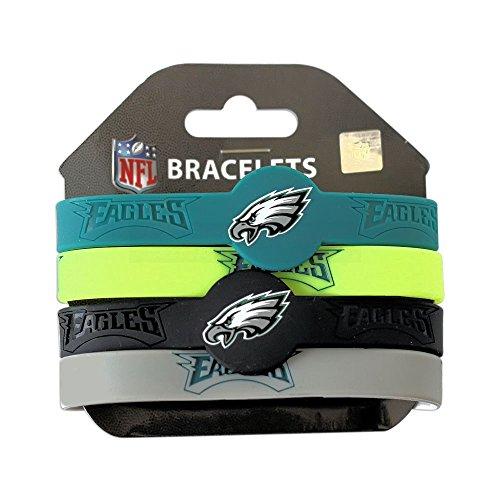 NFL Philadelphia Eagles Silicone Rubber Wrist Band Bracelet (Set of 4), One Size, Multicolor