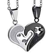 Amazon Lightning Deal 86% claimed: Jstyle Stainless Steel Mens Womens Couple Necklace Pendant Love Heart CZ Puzzle Matching
