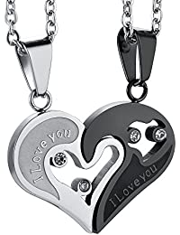 Stainless Steel Mens Womens Couple Necklace Pendant Love...