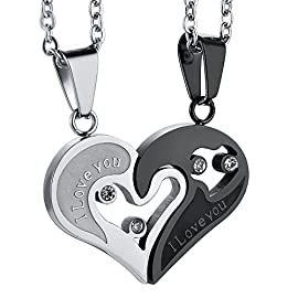 Jstyle Stainless Steel Mens Womens Couple Necklace Pendant Love Heart CZ Puzzle Matching