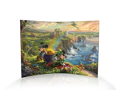 Disney Mickey Minnie Mouse – Thomas Kinkade Ireland Tourists Irish Rainbow Pot of Gold – 10 X 7 Curved Acrylic Photo Print – Free Standing Light Catching Photo Décor – For Gifting and Collecting -