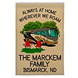 Cheap Happy Camper World Always at Home Wherever We Roam Personalized Motorhome Campsite Flag, Customize Your Way (Gray/Gold RV)