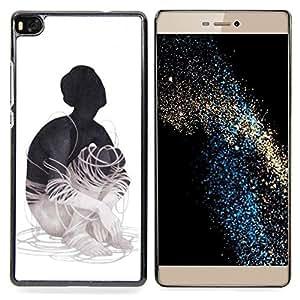 """Planetar ( Patrón de piel animal abstracto gris"""" ) Huawei Ascend P8 (Not for P8 Lite) Fundas Cover Cubre Hard Case Cover"""