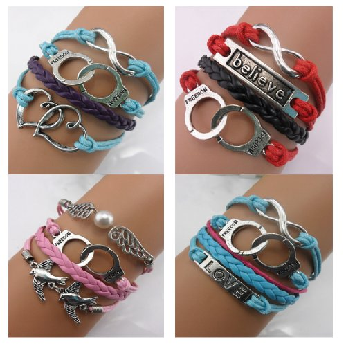 Series Handcuffs (Twinkle Handmade Fashion Charm for Friendship Gift Party Accessory Leather Bracelet (4 Pieces/lot) (Handcuffs))