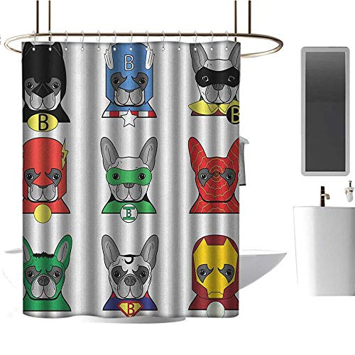 Qenuan Shower Curtain for Bathroom Superhero,Bulldog Superheroes Fun Cartoon Puppies in Disguise Costume Dogs with Masks Print, Multicolor,Washable,Durable,Brick Dobby Pattern for Bathroom 72