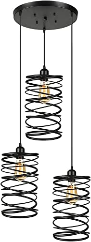 Antique Black Metal Pendant Light -LITFAD Industrial Hanging Multi Pendant lights with 3 lights Ceiling Light Chandelier Mounted Fixture Painted Finish for Dining room Coffee Shop Restaurants Bedrooms