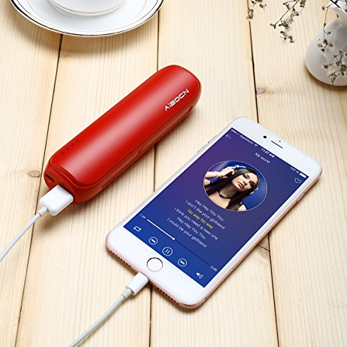 Aibocn little Pocket Size energy Bank mobile Charger External Battery 8000mAh for iPhone Samsung Galaxy Tablets and far more Red External Battery Packs