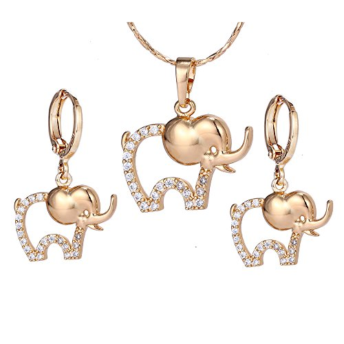 Xuping Lovely Lucky Elephant Shape Necklace Earrings Jewelry Set with Box for Women Children Thanksgiving Day Gift (White)