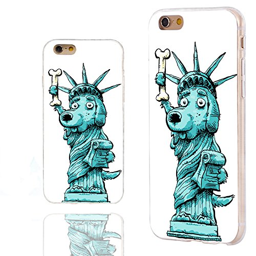 iPhone 6s Case,iPhone 6 Case,Case for iPhone 6 6s 4.7 Inch,ChiChiC Full Protective Slim Flexible Durable Soft TPU Cases with Fun design,cute teal blue cartoon funny dog the Statue of Liberty New York ()