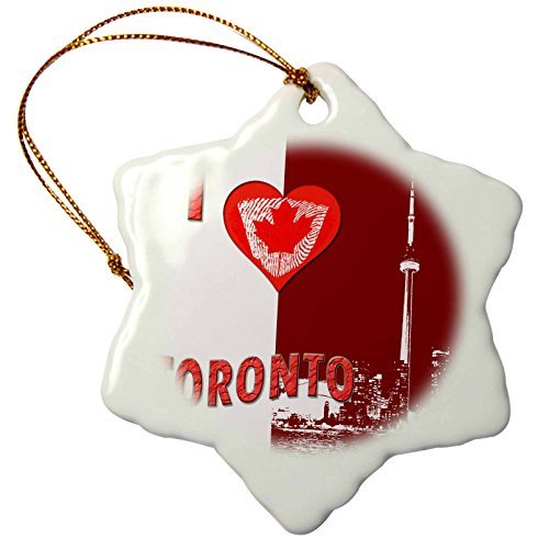 Ornaments to Paint I Love Toronto. CN Tower. Canadian Flag. - Snowflake Ornament, Porcelain, 3-Inch -