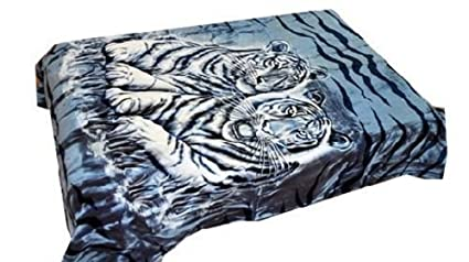 Amazon.com   Vivalon Blue White Tigers (BM122) Thick Mink Plush ... 390fbbffc