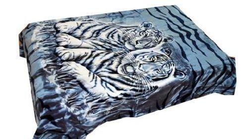 Vivalon Blue White Tigers (BM122) Thick Mink Korean Style Plush King Size Luxury Blanket - By ()