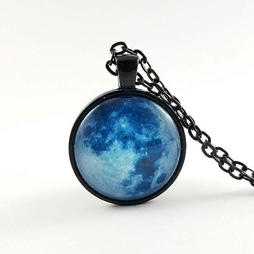Amazon Com Blue Moon Necklace Glass Pendant Halloween Gift