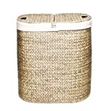 Double Laundry Hamper Seville Classics Water Hyacinth Oval Double Hamper, Hand-Woven
