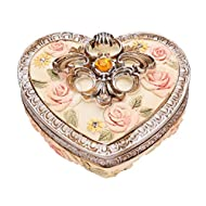 European Royal Style Trinket Jewelry Box Exquisite Rose Flower Carved Heart-shape Jewelry Holder Case
