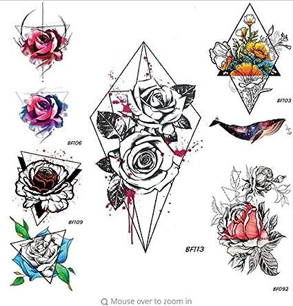 ruofengpuzi Adesivo tatuaggioAcuarela Sangre Rosa Tatuaje Falso ...