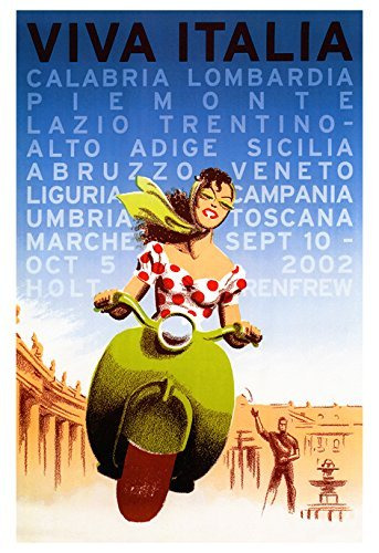 Viva Italia Poster Vintage Italian Travel Poster Italy Vespa Bella Donna By Unknown Amazon In Home Kitchen