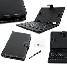 DURAGADGET Black Faux Leather Folio Micro USB QWERTY Keyboard Case with Built In Kick-Stand - Compatible with Acer Iconia Tab A1-810, B1-710, B1-721, & B1-720