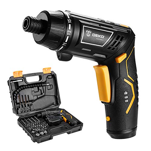 DEKO DCS3.6DU2 Cordless Electric Screwdriver Household Battery Rechargeable Drill Driver Power Gun Tools with Twistable Handle LED Torch (3.6 V)