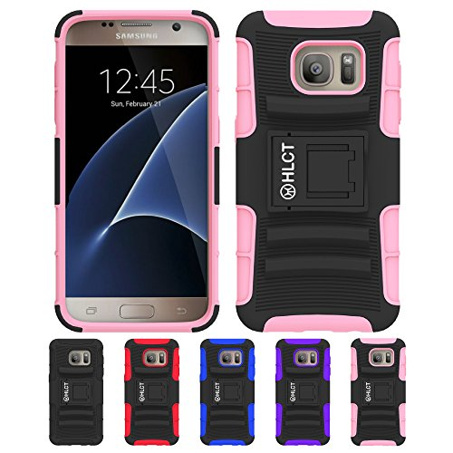 Price comparison product image Galaxy S7 Case,  HLCT Rugged Shock Proof Dual-Layer PC and Soft Silicone Case With Built-In Stand Kickstand for Samsung Galaxy S7 (2016) (Pink)