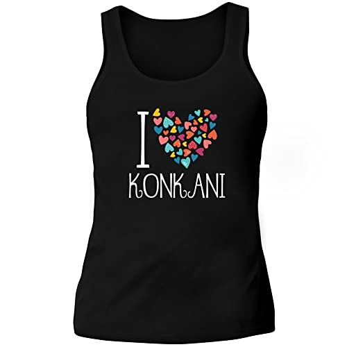 Idakoos I love Konkani colorful hearts – Lingue – Canotta Donna