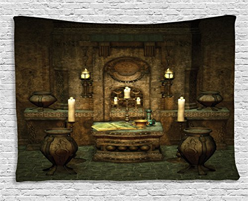 Ambesonne Gothic House Decor Tapestry by, A Room with Altar in Fantasy Style Spells Spirituality Pentagram Symbols and Candles, Wall Hanging for Bedroom Living Room Dorm, 60 W X 40 L, Forest Green