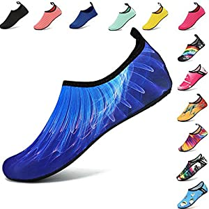 VIFUUR Men Women Water Shoes Barefoot Skin Shoes Run Dive Surf Swim Beach Yoga 3D Beam Blue 38/39