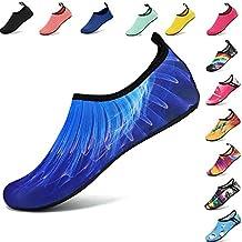 VIFUUR Men Women Water Shoes Barefoot Skin Shoes for Run Dive Surf Swim Beach Yoga 3D Beam Blue 42/43