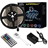 SUPERNIGHT LED Light Strip Waterproof, 16.4FT 300leds Multi Color SMD 3528 RGB Rope Lighting 12V Power Adapter Remote Controller Bedroom Home Party Wedding TV Backlight