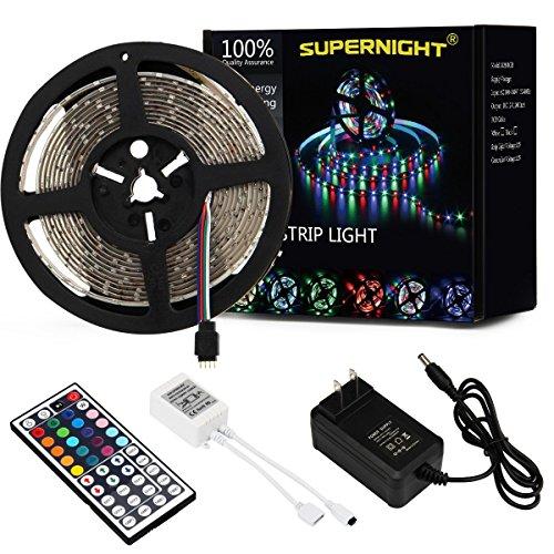 SUPERNIGHT LED Light Strip Waterproof, 16.4FT 300leds Multi Color SMD 3528 RGB Rope Lighting 12V Power Adapter Remote Controller Bedroom Home Party Wedding TV Backlight (RGB Kit) (Tv Multi Remote)
