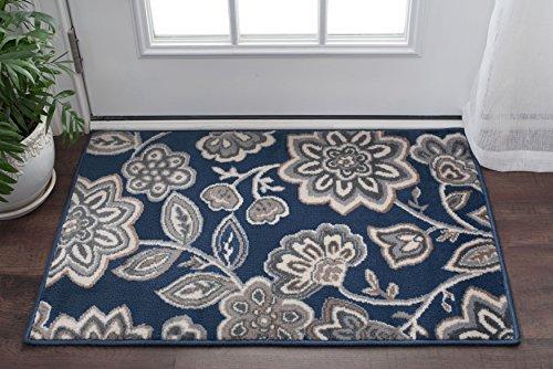 Emmalyn Transitional Floral Navy Scatter Mat Rug, 2' x 3'