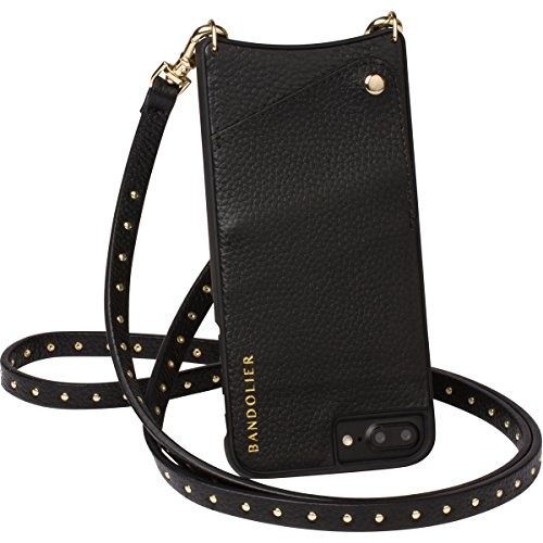 Phone Case For iPhone 8, 7 & 6 - GOLD Mini Metal Studs & Luxury Black Genuine Leather Phone Wallet for Cards & Cash. Cell Crossbody Detachable Strap. Carry Mobile Handsfree. Natalie By Bandolier by Bandolier (Image #1)