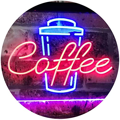 ADVPRO Coffee Cup Home Décor Shop Display Dual Color LED Neon Sign Red & Blue 16