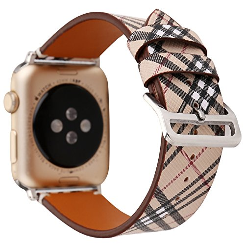 (Compatible with Apple Watch Band 38mm 40mm, [Classic Plaid Patterns] Soft Leather Watch Strap Replacement Wristband Bracelet for Apple Watch Series 4 (40mm) Series 3 Series 2 Series 1 (38mm))