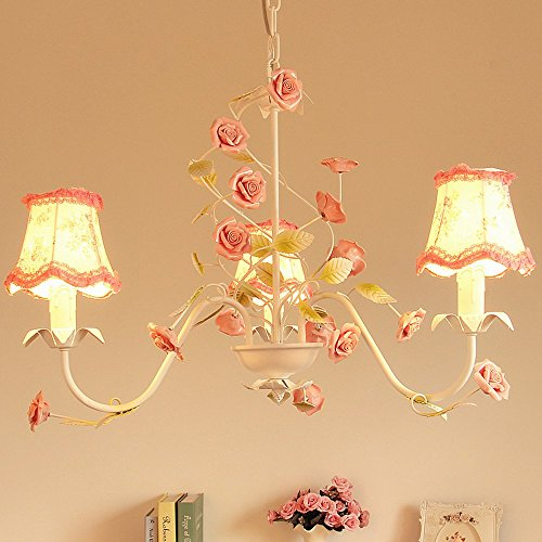 Country Rustic Living Room Chandeliers Floral Fabric Lampshade Metal Leaf With Pink Ceramic Rose Bedroom Hanging Lamp Bar Counter Dining Room Ceiling Pendant Lighting Fixtures (3 Heads)
