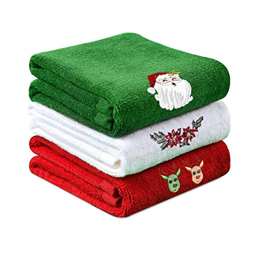 Yuntec Hand Towel Set, Pure Cotton Fade-Resistant Bathroom Kitchen Washcloths Towels, 12 x 18 Set of 3 Bath Towels, Dish Towels for Drying, Cleaning, Cooking, Baking, Holiday Decoration