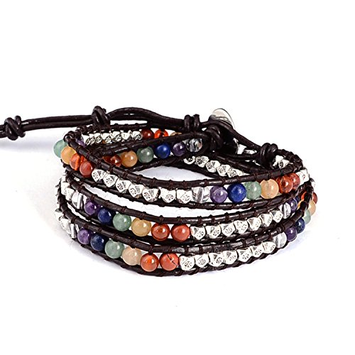 Sedmart 7 Chakra Three Layers Soft Leather Bracelet Mixed Silver Plated Beaded Gemstones Meditation Multilayer Wrap Woven bangle (Silver And Natural Leather Bracelet)