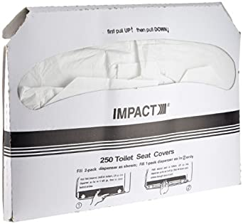 """Impact 1111 Toilet Seat Cover, Box Size 10-1/2"""" Height x 15"""" Width x 1"""" Depth, White (Case of 1000)"""