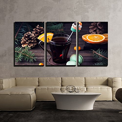 wall26 - 3 Piece Canvas Wall Art - Decorative Spoon with Cupcake in the Glass with Tea and Oranges Slice near Green Macarons - Modern Home Decor Stretched and Framed Ready to Hang - 16