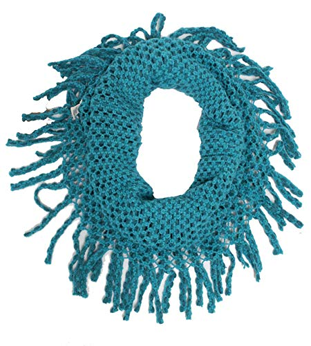 StylesILove Two Tone Womens Winter Warm Mini Tube Infinity Scarf With Fringe One Size Fits All Turquoise