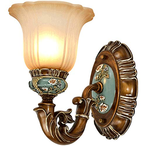 GLBS Retro Bedside Lamp Bedroom Wall Lamp E27 Iron Resin Glass Sconce Indoor Living Room TV Wall Aisle Wall Light Engraving Hand-Colored Lighting Fixture Household Illumination ()