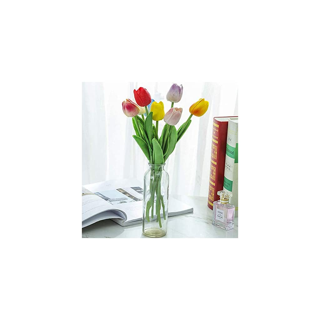 WEEGCN 4 Bundle Artificial Fake Flowers Plastic Greenery Outdoor UV Resistant Floral Shrubs Faux Tulip Flower Plastic Bouquet Bushes Plant for Wedding Home Party Balcony Yard Decoration (Red)