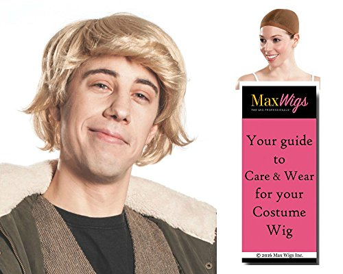 Kris Bjorgman color BLONDE - Enigma Wigs Kristoff Hero Christoff Frozon mens Shag Bundle w/Cap, MaxWigs Costume Wig Care -