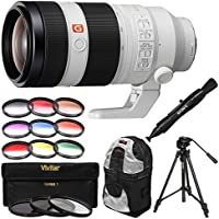 Sony Alpha E-Mount FE 100-400mm f/4.5-5.6 GM OSS Zoom Lens with Backpack + Tripod + 3 UV/CPL/ND8 & 9 Color Filters + Kit