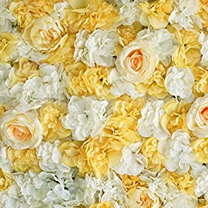 BalsaCircle 4 pcs White Champagne Assorted Silk Flowers Wall Backdrop Panels - Wedding Party Vertical Garden Wall Hedge Decorations Supplies 5