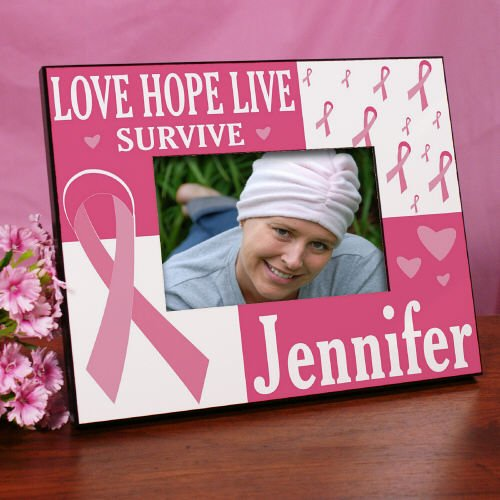 Love Hope Live Survive Personalized Breast Cancer Awareness Picture Frame, Holds a 3.5