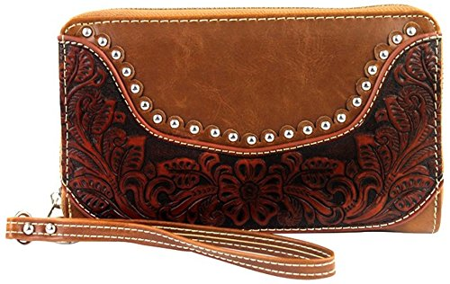 Montana West Tooled Leather Clutch Wallet with Wristlet Strap CC Organizer ()
