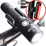 USB Rechargeable Bike Light Combo Set - Powerful 860 Lumen Front Headlight and 100 Lumen Back Bicycle Tail Light Combo
