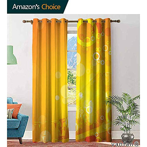 Big datastore Orange Curtain Set of 2Abstract Composition with Circles Dots Artistic Energetic Colors Sunburst Home Furnishings Decor by W96 x L108 Orange Yellow White